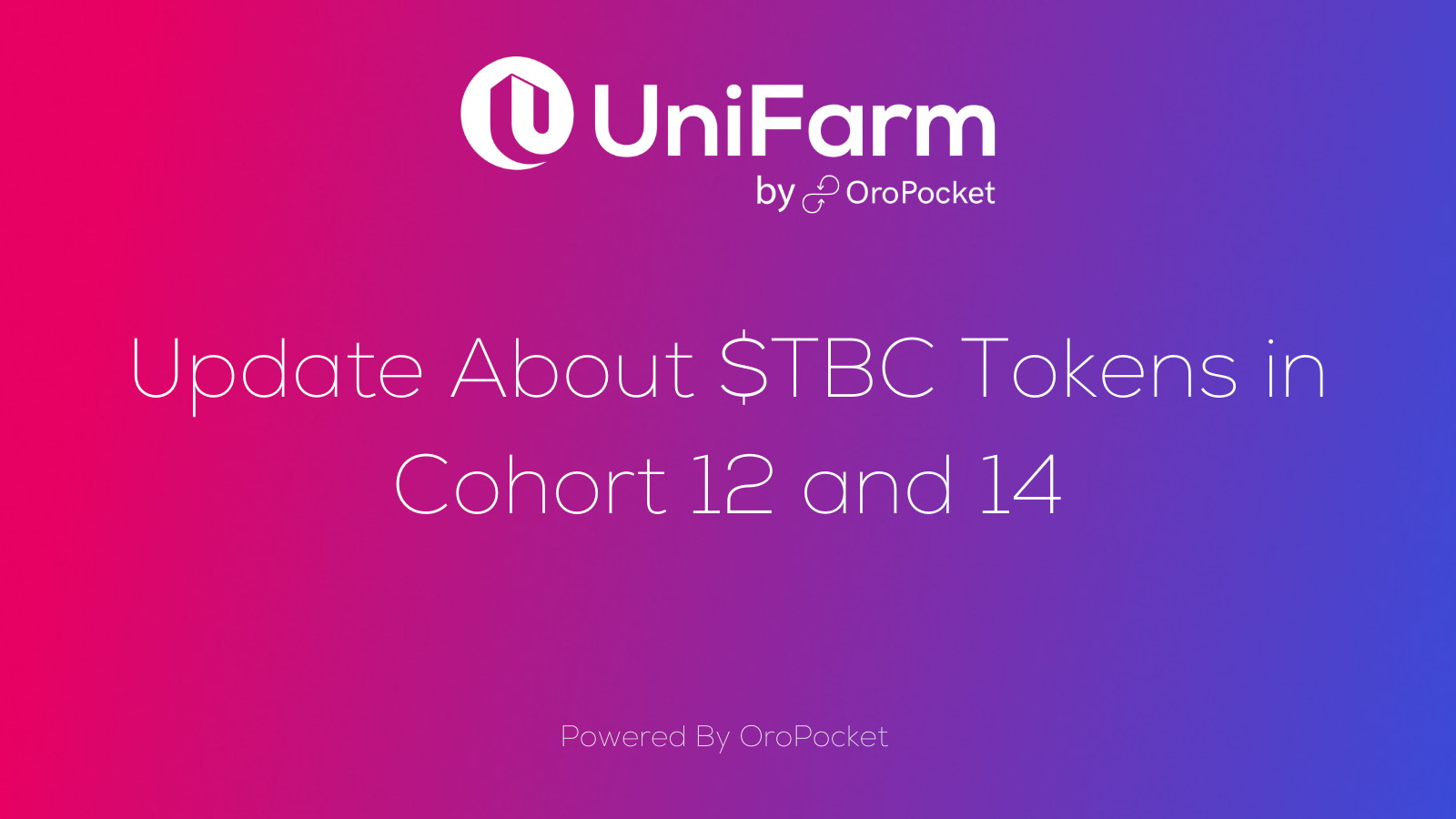 Update About $TBC Tokens in Cohort 12 and 14